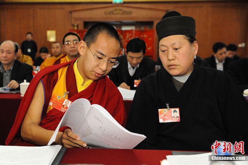 唐诚青与十一世班禅在两会讨论报告