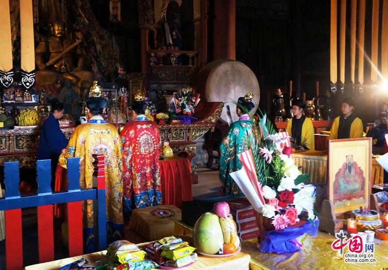 武当山紫霄宫举行为失联航班上的乘客及家属祈福法会