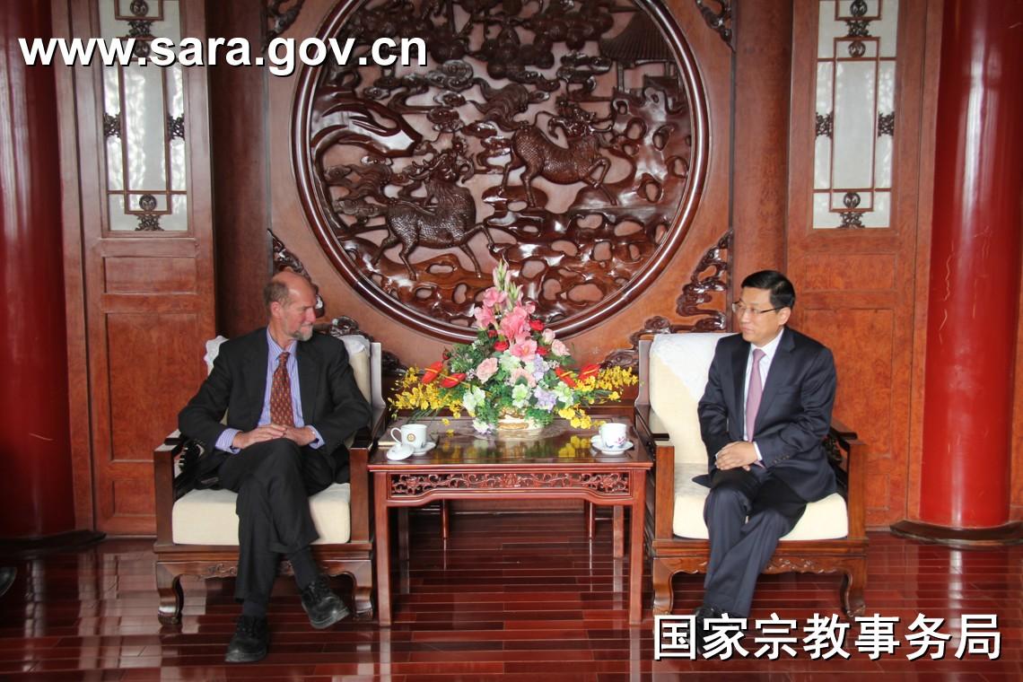 蒋坚永会见世界宗教与环境保护基金会秘书长