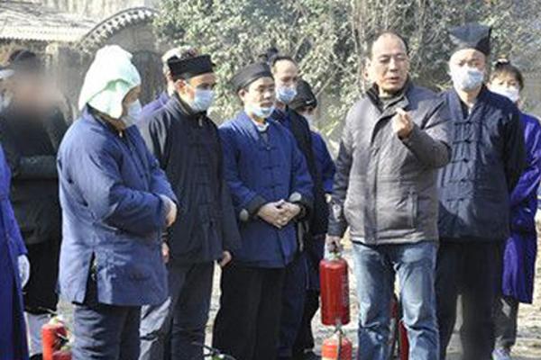 陕西西安八仙宫开展2017春节消防演习活动