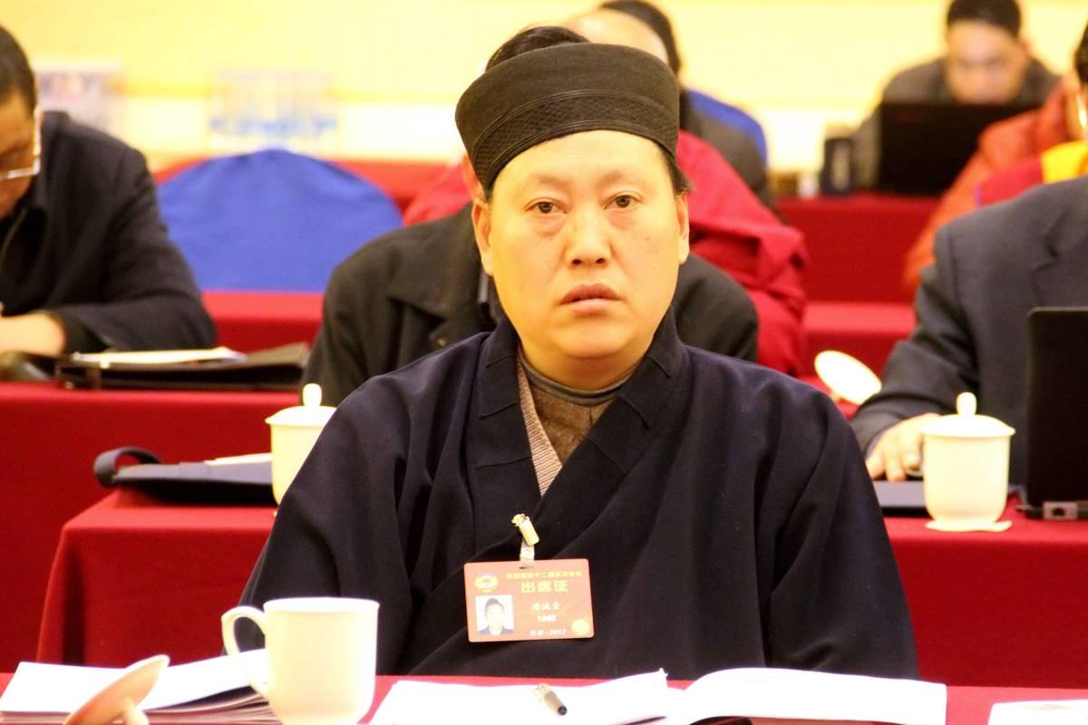 全国政协委员、中国道教协会副会长唐诚青道长在3月6日小组讨论会上(图片提供中国西藏网刘莉)