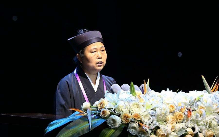 中国道教协会副会长黄至安道长演讲《论道教的济世情怀》(图片来自秦楚网)