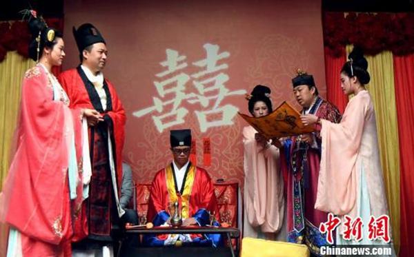 福州市三坊天后宫举办道家婚礼弘扬传统文化