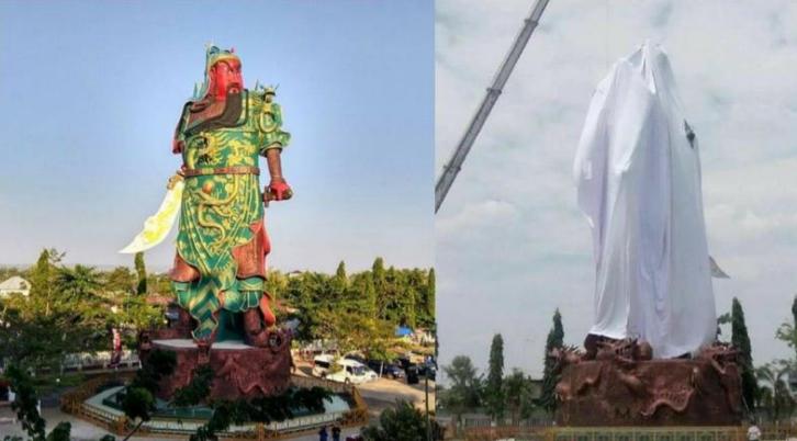 """印尼穆斯林要求拆除巨型""""关公像"""":他对建国没贡献"""