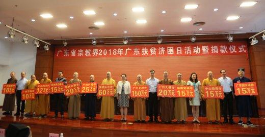广东省宗教界为2018年广东扶贫济困日运动捐钱660余万元