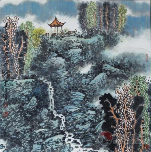 中国崂山道家书画院书画家纪仕利挥毫作画