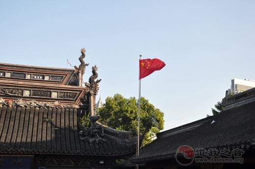 """上海城隍庙积极响应""""国旗进场所""""号召"""