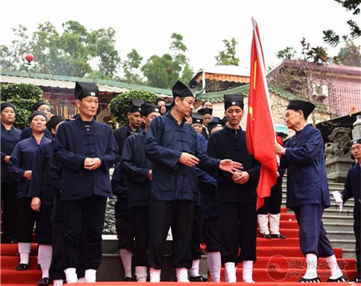 广东省陆丰紫竹道观升国旗追忆红色历史