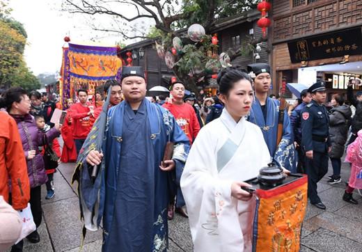 """福州举行""""正月初五迎财神""""民俗巡游活动"""