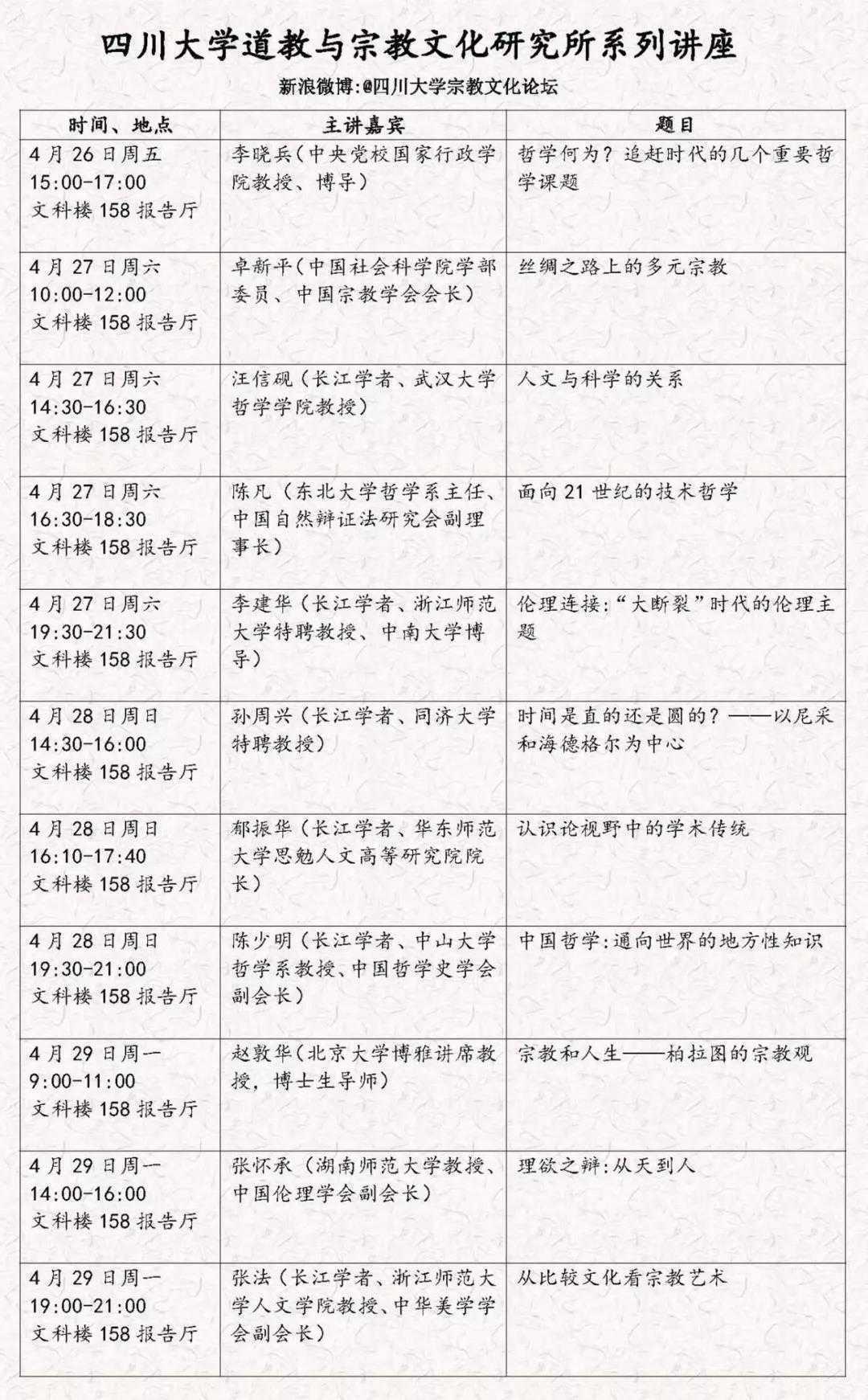 四川大学道教与宗教文化研究所哲学、宗教与艺术系列讲座预告