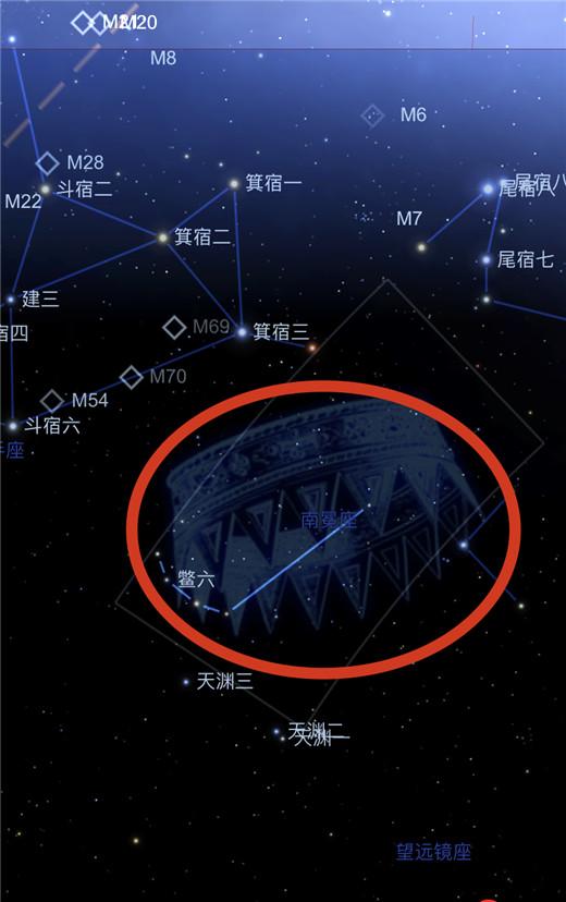 天鳖跨越了南冕座与望远镜座