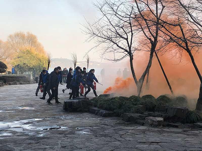 江苏省无锡太湖三山道院参加景区森林防火实战演练活动