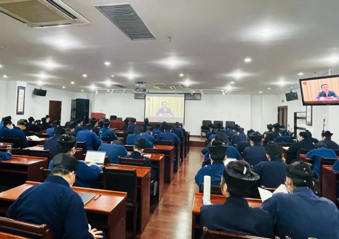 中国道教学院组织全体师生收看党史学习教育专题报告会视频